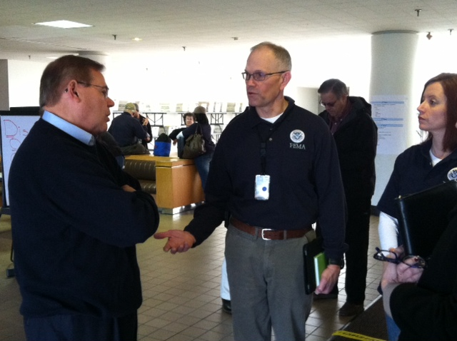 Touring a FEMA Disaster Recovery Assistance Center with DHS Secretary Napolitano, HUD Secretary Donovon & Sentor Lautenberg in Lincroft. November 16, 2012
